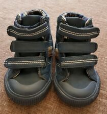 Dark Blue Brown Striped Infant Toddler Hightop Boots Size 4