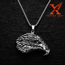 3MM 24 inch BOX Chain STAINLESS STEEL BLACK SILVER EAGLE HEAD PENDANT NECKLACE