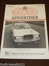 ROLLS ROYCE ENTHUSIASTS CLUB ADVERTISER #43 - MARCH 1982 BENTLEY MULSANNE TURBO