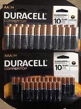 48 PC Combo pack Duracell Coppertop Alkaline -24 AA & 24 AAA Batteries Bulk