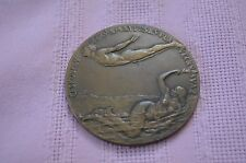 Antique Very rare ceskoslovenska Solid bronze medal swimming asso. mermaid ,male