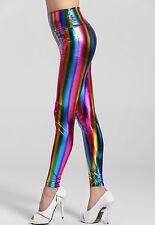 HOT QUALITY Wet Look High Waist Shine Rainbow MultiColoured Stripe Leggings 8-10