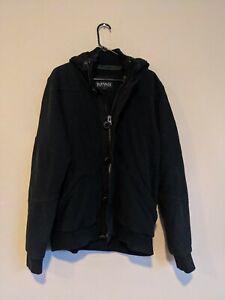 Men's Buffalo David Bitton Zip/Button Black Cardigan Hoodie Size XL