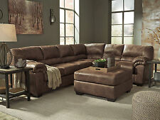 ROYCE Modern Sectional Living Room Couch Set - NEW Brown Microfiber Sofa Ottoman
