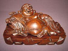 Chinese Hand Carved Wood Budai Happy Laughing Buddha Censer Box Incense Figurine