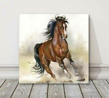 racing horse art watercolour canvas picture print framed brown