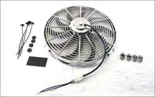 Chevy Ford Mopar16'' Curved Blade HD 12V Reversible Fan 3000CFM Chrome Universl