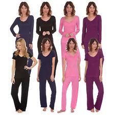 Ladies Womens V Neck Short ,Long Sleeve Pyjama Set Soft Viscose PJ Nightwear