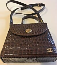 Embossed  Brown Patent Leather Hand Bag with CC Channel-like Insignia