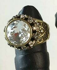 """HEIDI DAUS """"PREMIERE ATTRACTION"""" CLEAR Pave Cut Centered Crystal  Ring Size 7"""