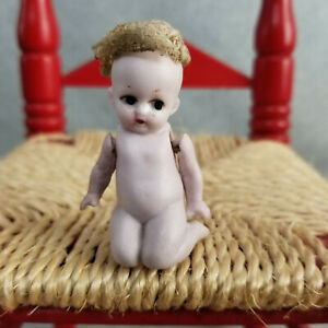 """2"""" antique bisque German Miniature Dollhouse Baby Doll Sitting marked Germany"""