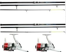 2 X Okuma 14ft Beach Caster Surf Rods Sea Fishing 3pc 4-9OZ + Reels + Line