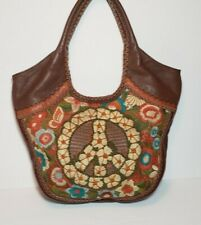 ISABELLA FIORE BROWN SAKS PEACE SIGN PIPER EMBROIDERED LEATHER HOBO HANDBAG $695
