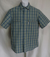 Columbia Mens Size M Short Sleeve Omni Shade Sun Protection Shirt Plaid Top