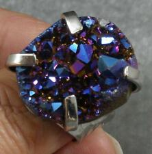 Nuggety Large Finger Ring Adjustable Blue Purple Dichroic Coated Druzy Agate