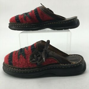 Born Womens 8M Southwest Indian Mule Clogs Sandals Red Wool Brown Leather B0981