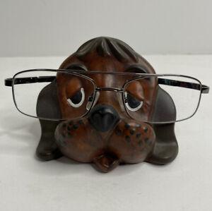 Vintage Ceramic Puppy Dog Eye Glass Holder for Eyeglasses Brown Home Studio Cute