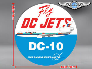 UNITED AIRLINES UA ROUND SAUL BASS LIVERY DC10 DC 10 FLY DC JETS DECAL / STICKER