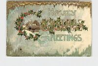PPC POSTCARD HEARTY CHRISTMAS GREETINGS HOLLY SNOW GOLD EMBOSSED