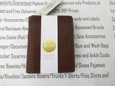 FOSSIL Cash Clip Credit Card Holder Mens Slim Leather Brown Belt Wallet New R£42