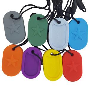 1x Sensory Chew Necklace Dog tag star design stress reliever