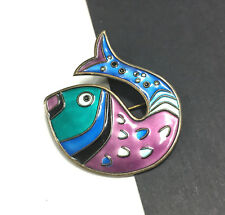 Vintage David Anderson Norway Sterling Silver .925 Enamel Fish Brooch Pin KK46o