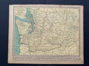 "WASHINGTON&W. VIRGINIA, Rand Mcnally & Co 1927 Map Print 14"" x 11"" Prem. Edition"