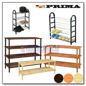 WOODEN SHOE RACK Slated Footwear STORAGE UNIT Shelves Small Large Light Weight