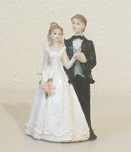 "Vintage SFI Bride and Groom Pink Bouquet Wedding Cake Topper 4.5"" NOS"