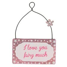 I love you fairy much. Small wall plaque. Shabby chic. Fairy tale, pink. Love.