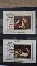 2x Bloc Sheet AJMAN Nativité Emirates non dentelé Imperf cachet 1969 MNH**