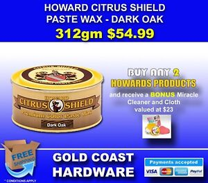 HOWARD PRODUCTS CITRUS SHIELD PASTE WAX 312gm ALL COLOURS