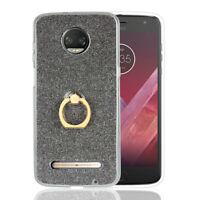 Luxury Glitter Gel TPU Case Finger Grip Ring Stand Phone Cover For Motorola Moto