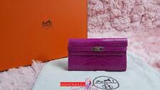 RARE 2013 HERMES Rose Scheherazade Alligator Long Kelly Wallet / Q STAMP