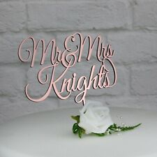 Personalised Wedding Cake Topper.Rose Gold,Gold,Silver. Mr & Mrs Cake Decoration