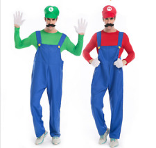 Hot Adult Mens Super Mario and Luigi Bros Fancy Dress Cosplay Costume Plumber-