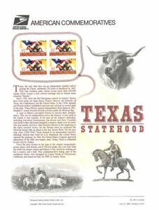 #461 32c Texas Statehood #2968 USPS Commemorative Stamp Panel