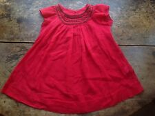 RRP£120 Bonpoint Embroidered Red Cotton Crepe Dress, Size 3