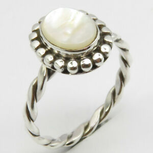 Large Ring Boho Coin Ring Mother Of Pearl Coin Ring Flat MOP Coin Ring Black Mother Of Pearl Ring Pearl Ring Silver Ring For Women