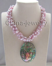 "17 "" 3row purple keshi reborn freshwater pearl necklace +Abalone shell pendant"