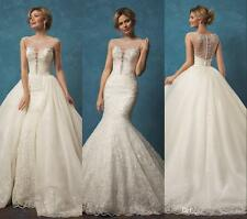 2017 Gorgeous Lace Detachable A Line Wedding Dress Bridal Gown Custom Size