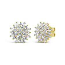 Baguette Diamond Starburst Stud 14k Yellow Gold Round Statement Earrings 1.87ct