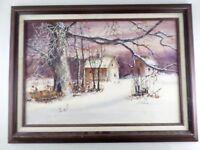 Irene Selonke Listed Kansas Artist Winter Farm Landscape Watercolor Painting VTG