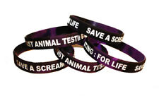 Save A Scream AGAINST ANIMAL TESTING Animal Rights Silicone Wristband Vegan