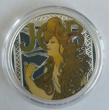 Alphonse Mucha JOB 1 0z .999 silver coin colorized Art series collection limited