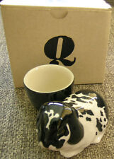 Quail Pottery Hand Crafted Egg Cup Black & White Lop Eared Rabbit + Box