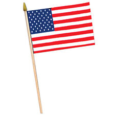 "American Flag - Fabric 4"" x 6"" w/10½"" Spear-Tipped Wooden Stick (Pack of 12)"