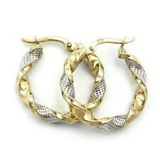 Echt 375 Gold Creolen Kreolen Ohrringe Bicolor Damen Gelbgold weißgold 333 große