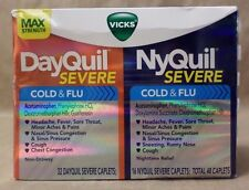 Vicks DayQuil NyQuil Severe Cold Flu Max Strength Total 48 Caplets Exp 08/17 +