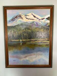 Vintage Original Oil Painting Mary Ann Liscio Mountain landscape signed framed
